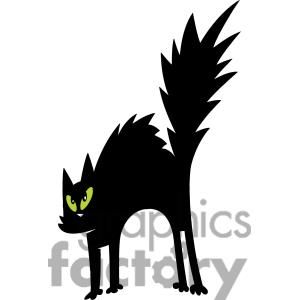 Scared Black Cat clipart. Royalty.