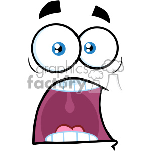 10871 Royalty Free RF Clipart Scared Cartoon Funny Face With Panic  Expression Vector Illustration clipart. Royalty.