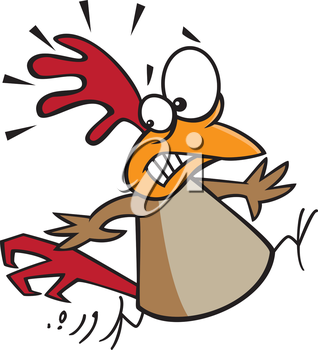 Royalty Free Clipart Image of a Scared Chicken #692458.