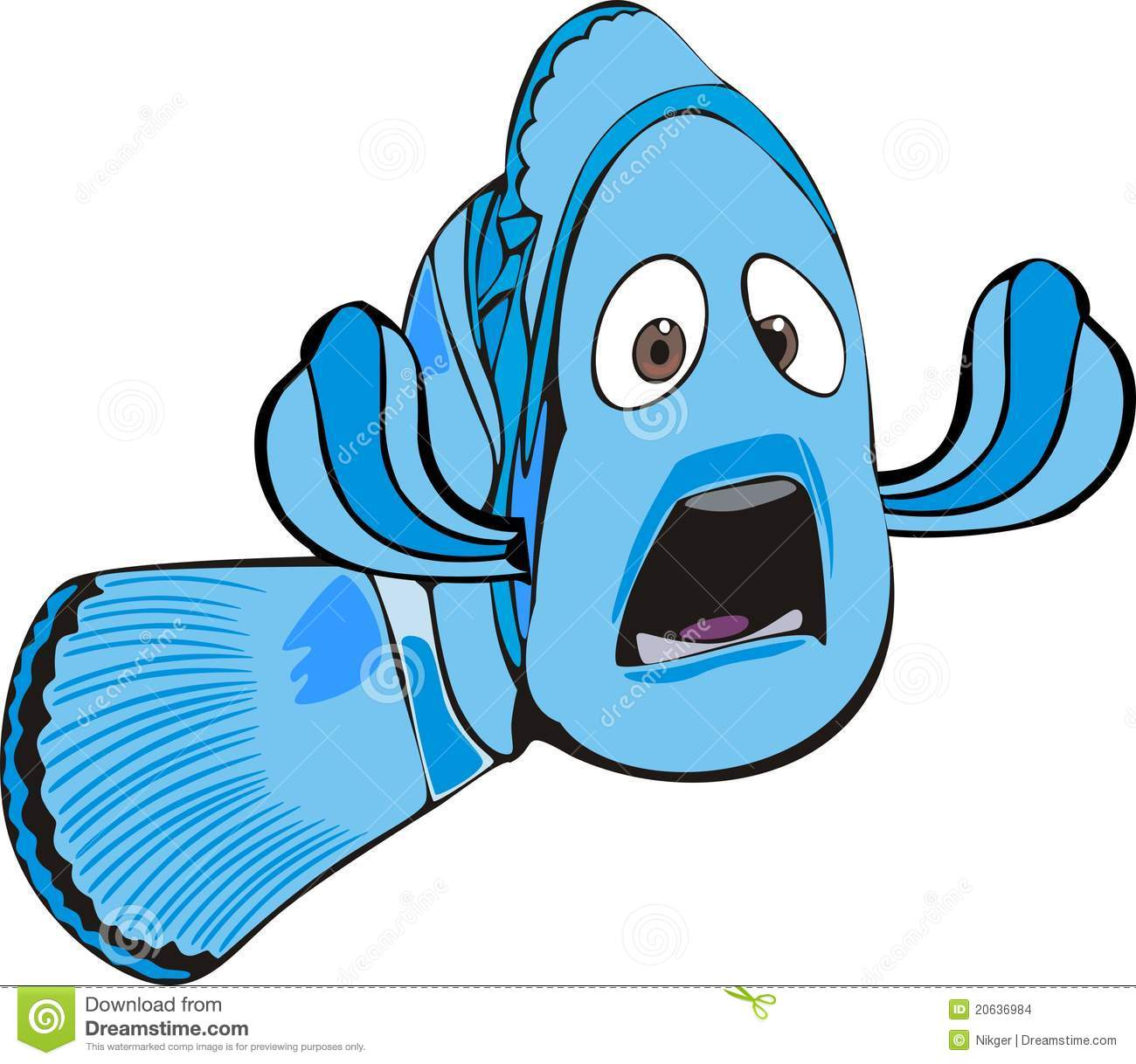 Scared Fish Clipart.