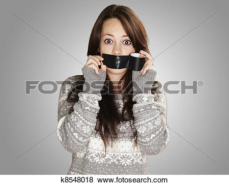 Pictures of portrait of scared girl being silenced by herself over.
