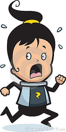 Scared Girl Running Stock Image.