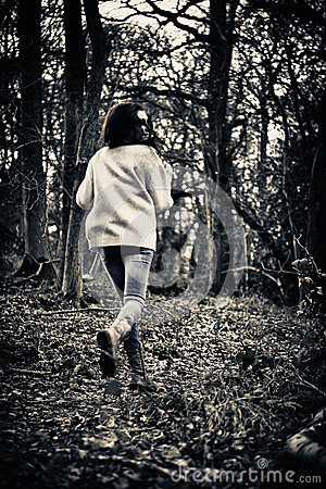 Scared Girl Running Royalty Free Stock Images.