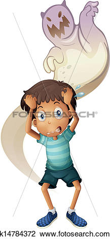 Clipart of A scared boy with a ghost at the back k14784372.