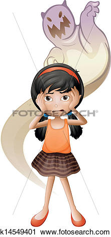 Clipart of A scared child with a ghost at her back k14549401.