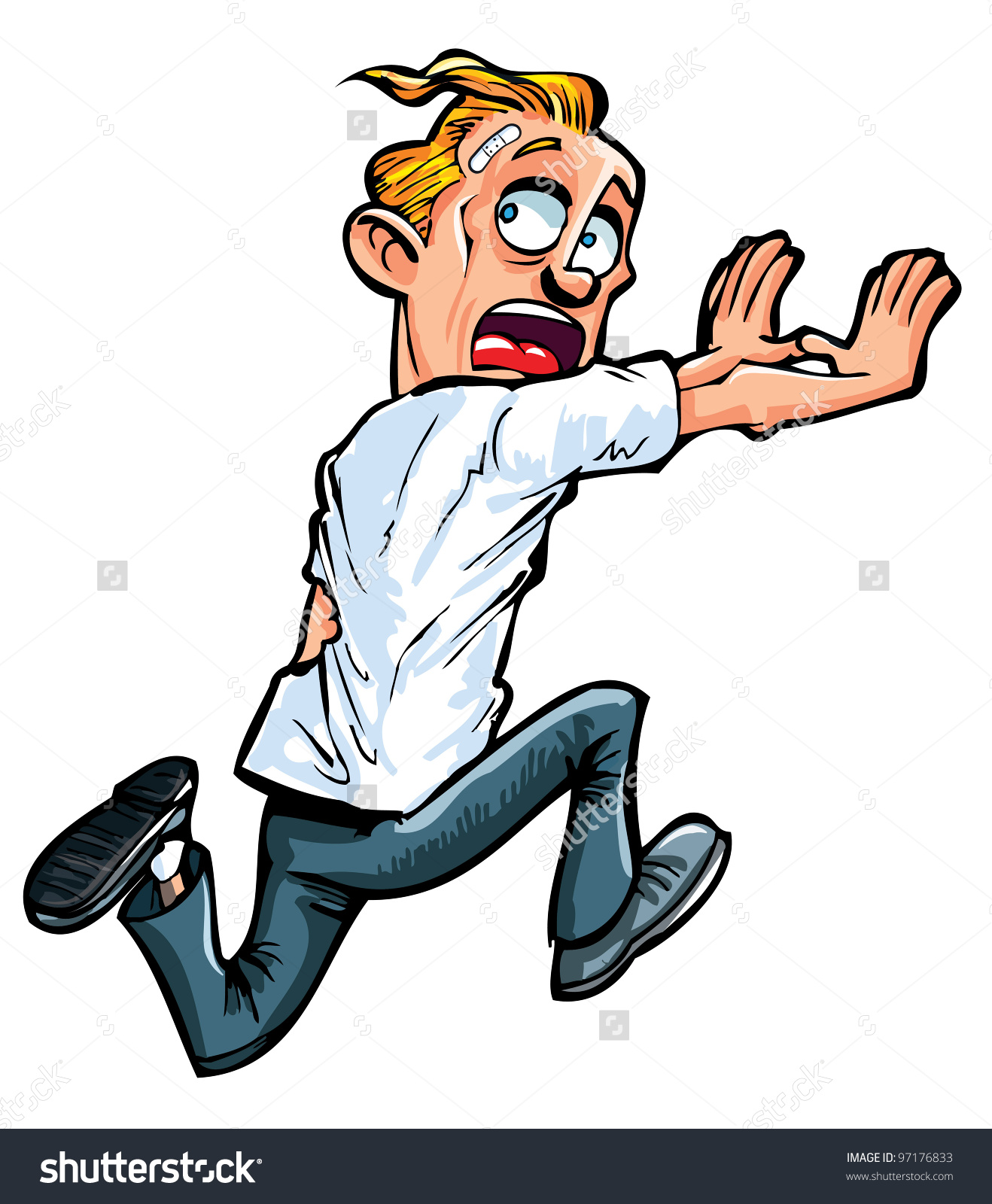Scared Man Running Clipart.