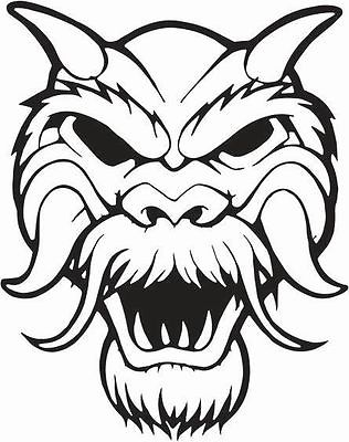 SCARY MONSTER WITH FACE HORNS AND FUR CAR DECAL STICKER.