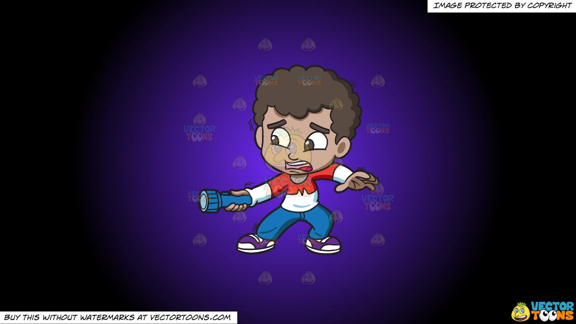 Clipart: A Scared Black Boy Holding A Flashlight In The Dark on a Purple  And Black Gradient Background.