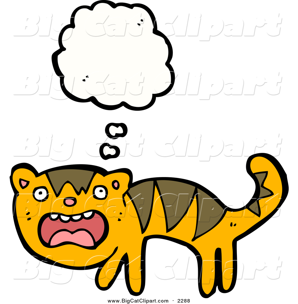 Big Cat Cartoon Vector Clipart Of A Thinking Scared Tiger.