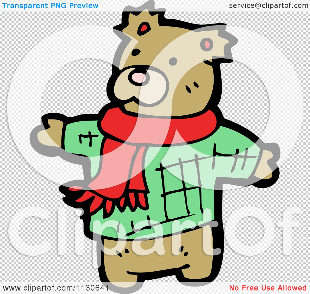 Cartoon Of A Cute Bear Wearing A Scarf And Sweater.