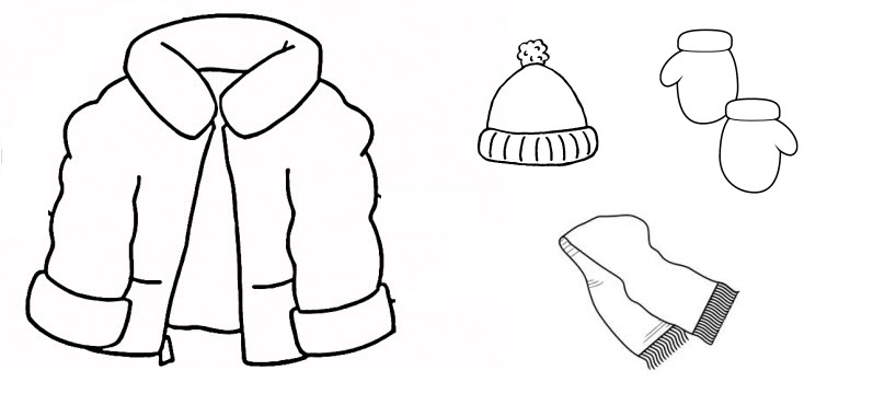 winter clothes black and white clipart - Clipground
