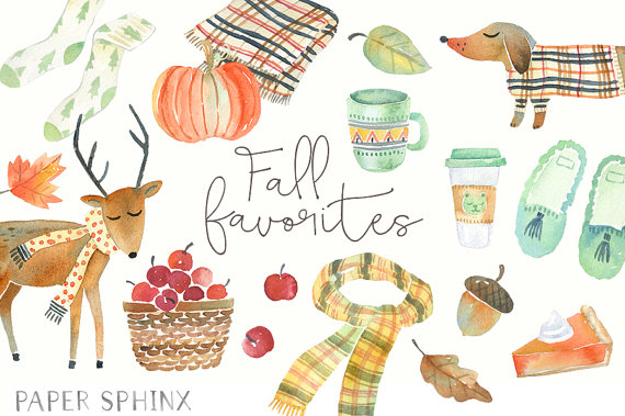 Watercolor Fall Clipart.