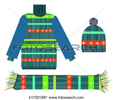 Clip Art of Knitted sweater, scarf and hat for Christmas.
