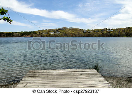 Stock Photos of Scargo Lake dock, Cape Cod.