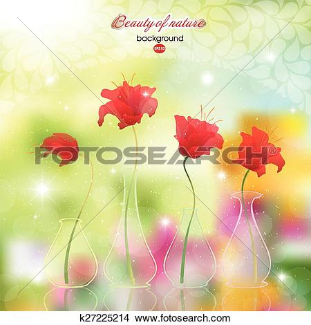 Clipart of Scarlet flowers in pots on abstract k27225214.