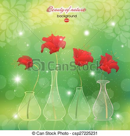 Vectors of Blooming scarlet flower buds in vases to abstract.