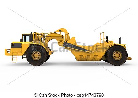 Clipart of Wheel Tractor Scraper isolated on white background. 3D.