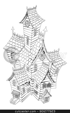 Scary House Black And White Clipart.
