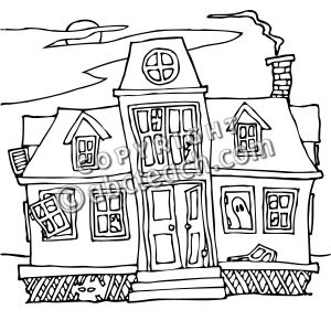Clipart Haunted House Black And White.
