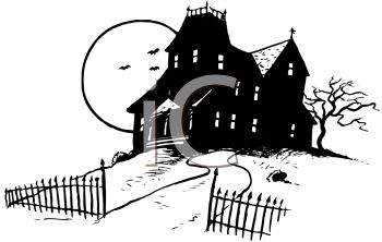 Scary Clipart Haunted House Black And White Free.
