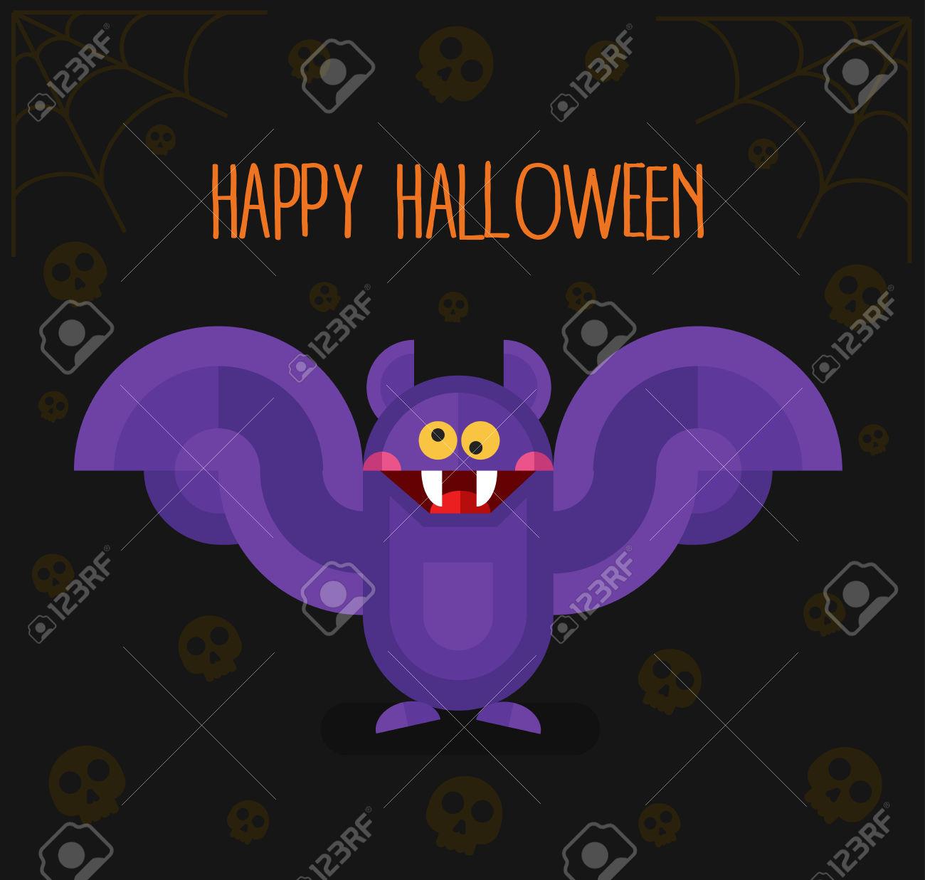 Flat Design Illustration With Cartoon Cute Scary Vampire Bat.