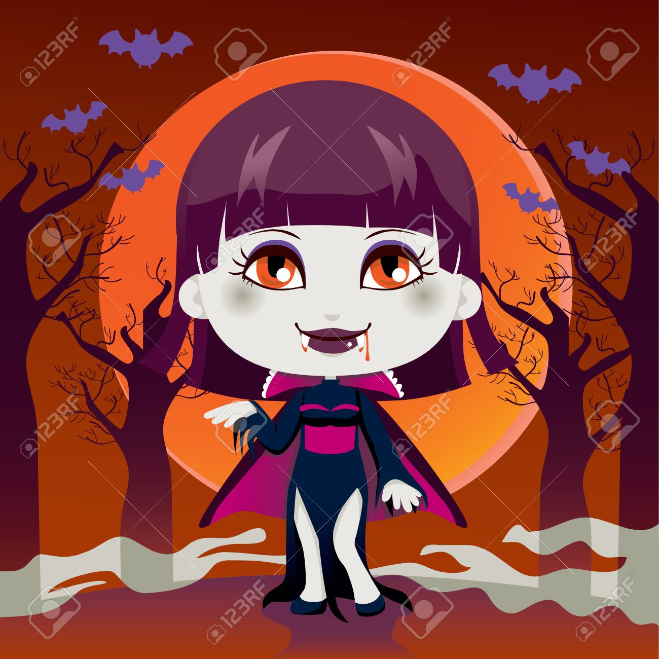 Cute Little Girl With Lady Dracula Vampire Costume For Halloween.