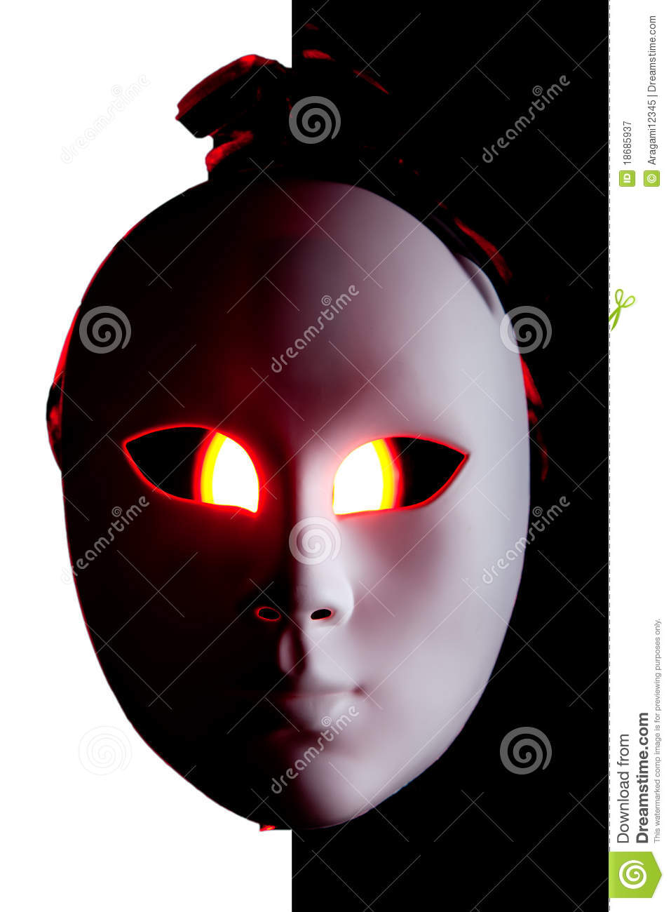 Scary Black And White Mask With Red Eyes Royalty Free Stock.
