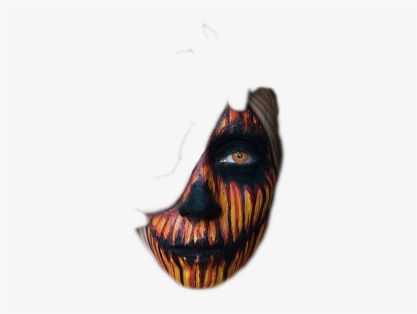 Pumpkin Overlay Face Scary Halloween Png Transparent.