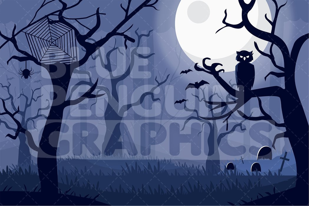 Scary Forest Full Moon Night Graphic Background Clipart.