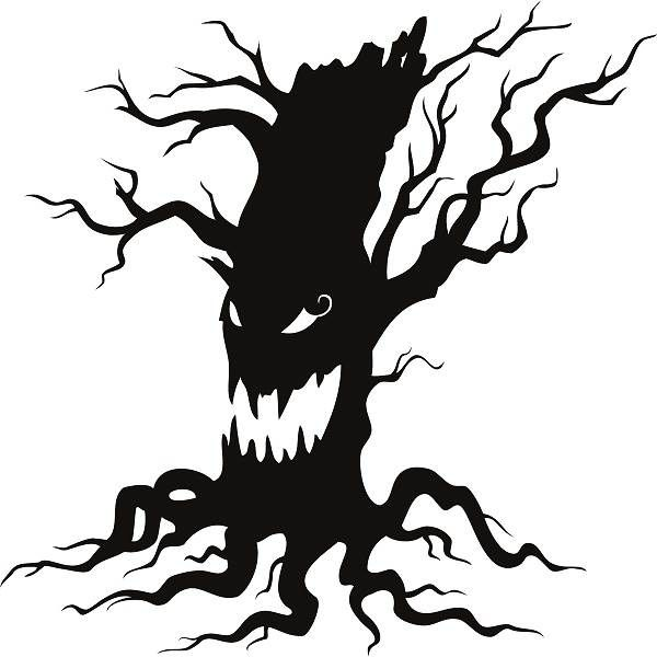 Free Halloween 2014 Clip Art Black and White Scary Tree.