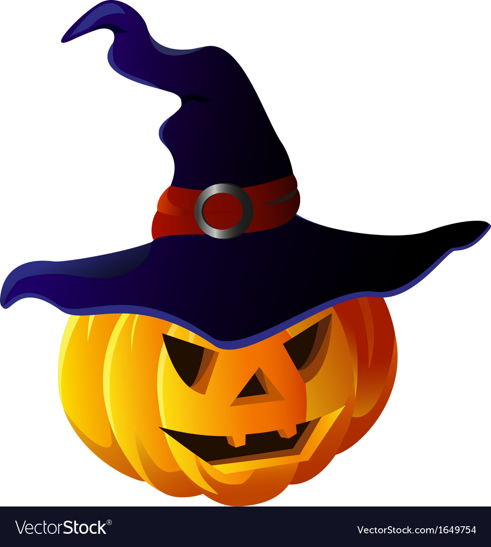 Scary Halloween Pumpkin in Witch Hat.