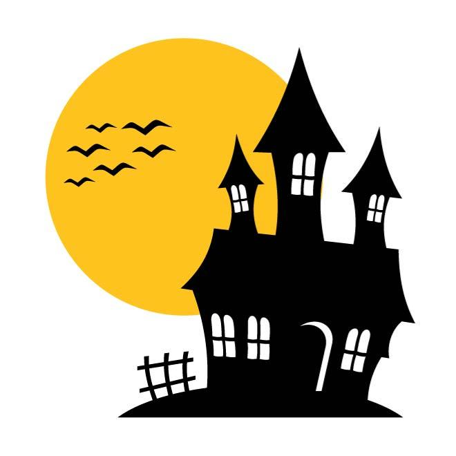 HAUNTED HOUSE VECTOR ILLUSTRATION.
