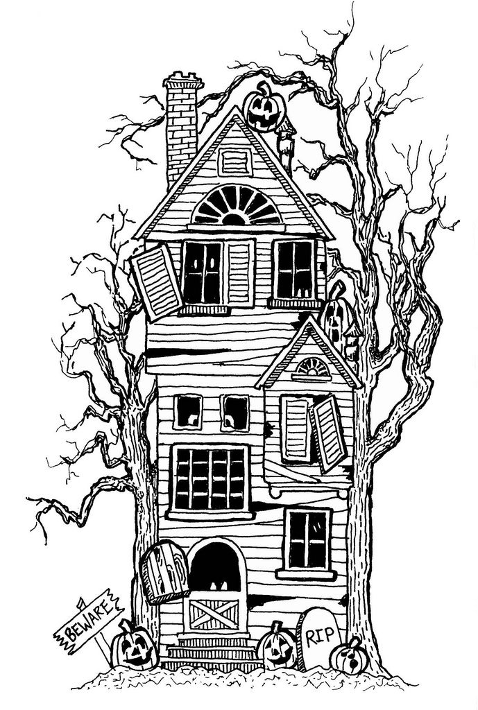 scary monkey coloring pages | scary clipart haunted house black and white free - Clipground