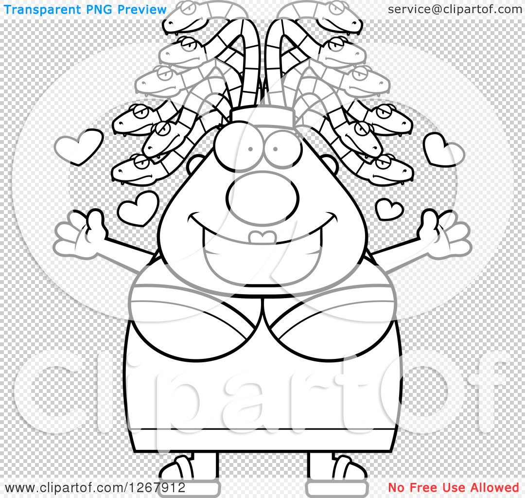 Clipart of a Black and White Loving Chubby Gorgon Medusa Woman.