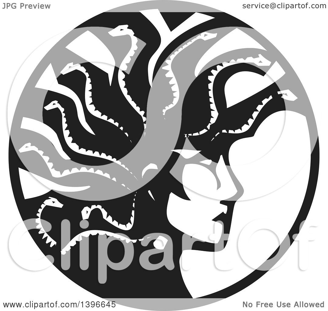 Clipart of a Black and White Woodcut Profiled Medusa with Her.