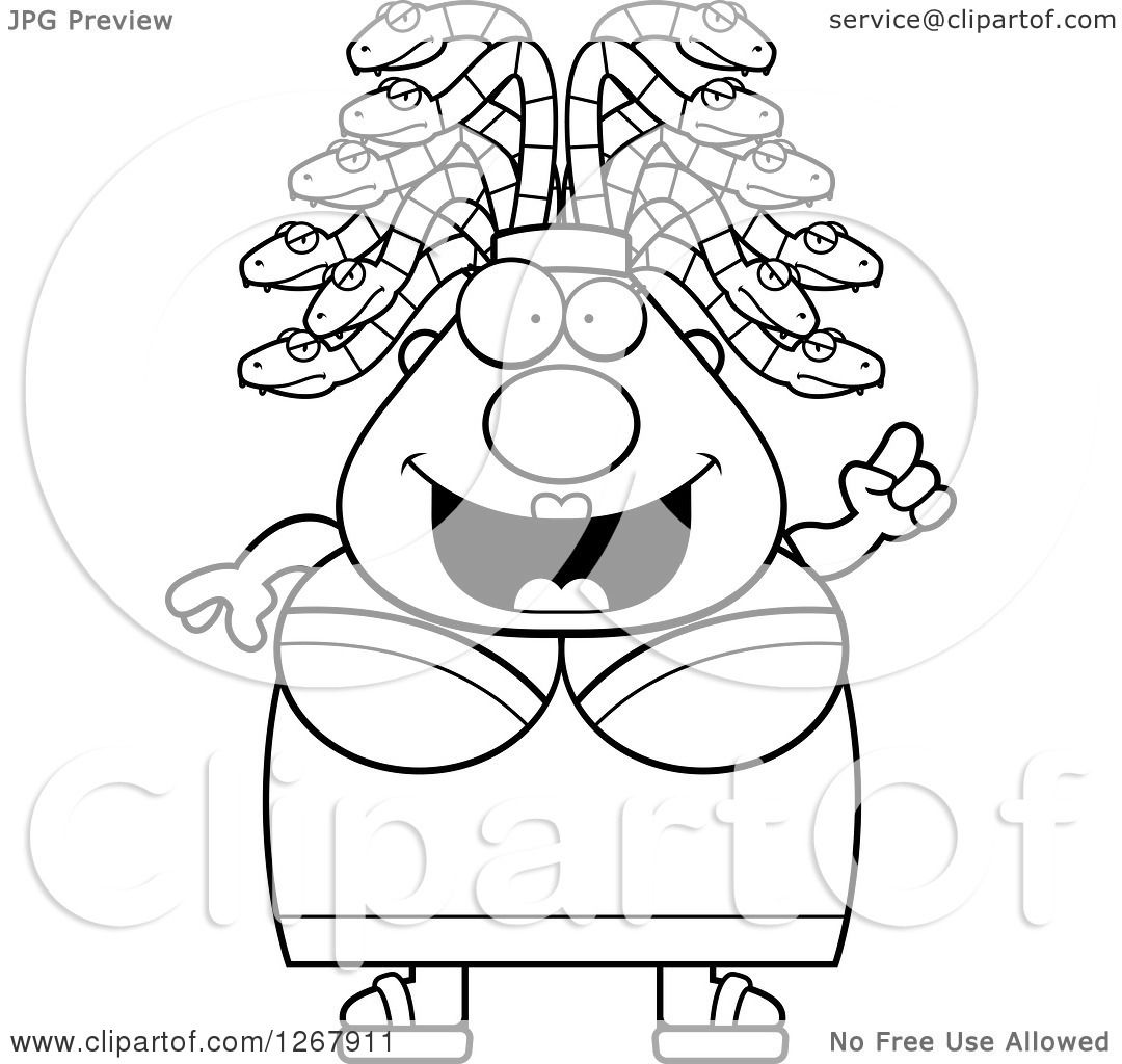 Clipart of a Black and White Smart Chubby Gorgon Medusa Woman with.