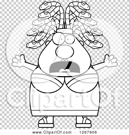 Clipart of a Black and White Scared Screaming Chubby Gorgon Medusa.