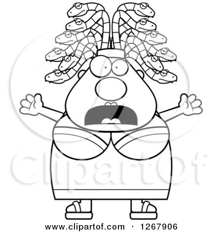 Clipart of a Happy Chubby Gorgon Medusa Woman with Snake Hair.