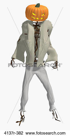 Stock Photo of Scary pumpkin man wearing a shirt and pants 4137r.