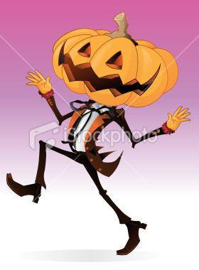 Scary Pumpkin Character Royalty Free Stock Vector Art Illustration.