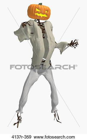 Stock Photograph of Scary pumpkin man wearing a shirt and pants.