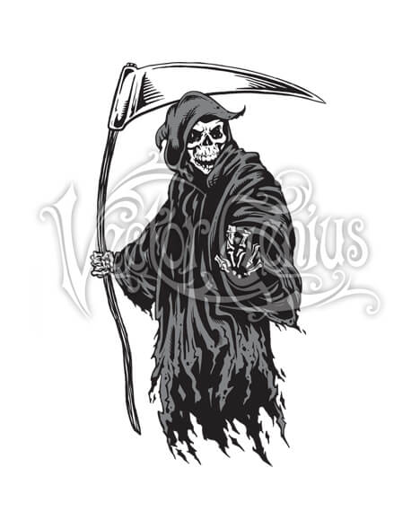 Scary Skeleton Grim Reaper ClipArt.