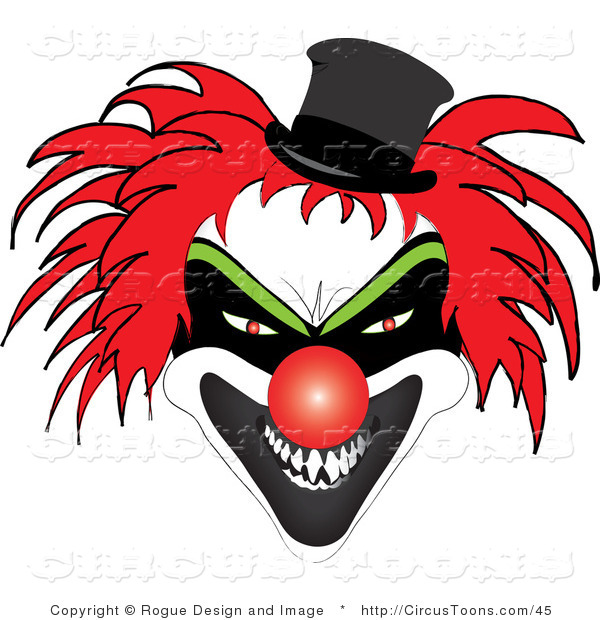 Circus Clipart of a Scary Red Haired Clown with Sharp Teeth.