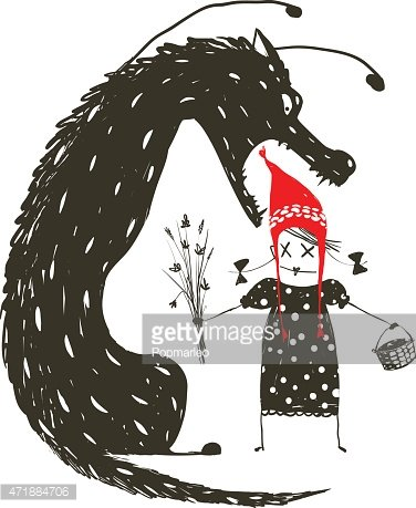 Little Red Riding Hood and Black Scary Wolf Clipart Image.