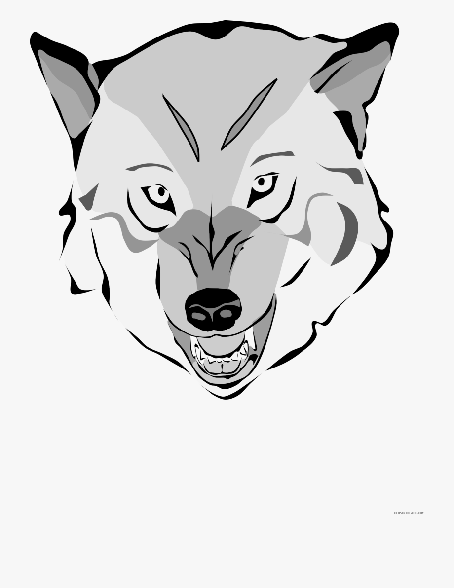 Wolf Face Animal Free Black White Clipart Images.