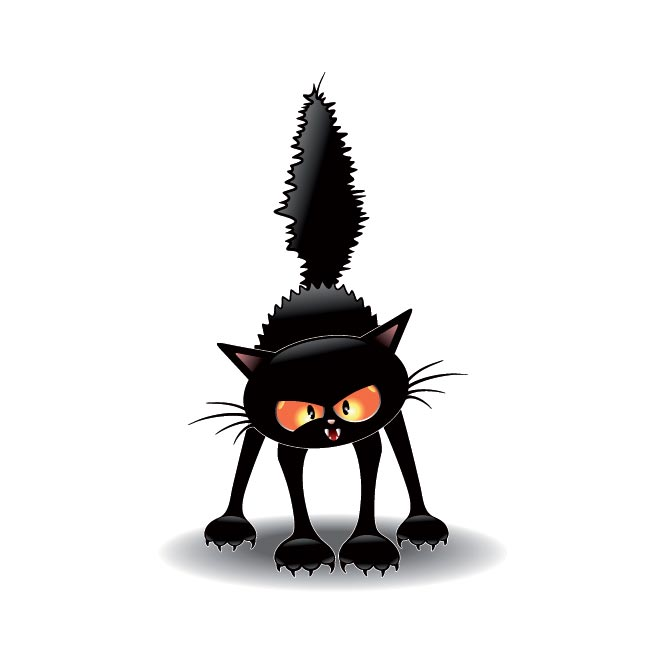 Free Vector witch scary cat scathing floor illustration 40104.