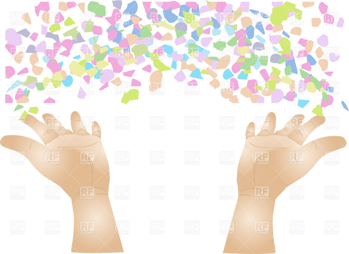Hands scattering confetti Vector Image #25289.