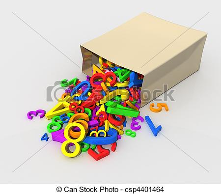 Drawing of Figures scattered from a package..