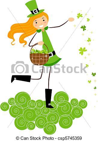 Stock Illustration of Girl Scattering Clovers.