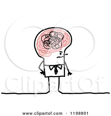 Clipart of a Scatter Brained or Annoyed Stick Businessman.